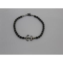 Armband für herren Saki mit kugeln, dunkelgrau und noch in edelstahl