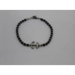 Bracelet men's Saki with balls of dark grey and still made of steel