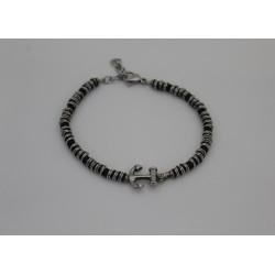 Bracciale da uomo Saki maglia nera con anellini e ancora centrale in acciaio