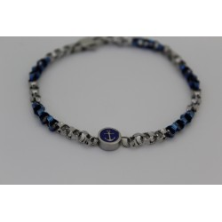 Bracelet man Saki mesh in stainless steel and electric blue with still central