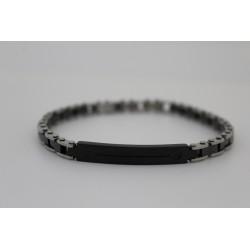 Bracciale da uomo Saki maglia in acciaio e nera con targhetta nera