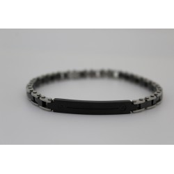Bracelet homme Saki maille d'acier et de noir avec plaque noir