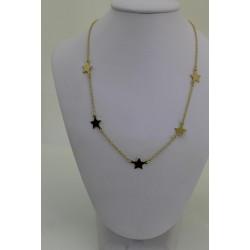 Collier Star en argent sterling 925 couleur d'or avec des étoiles