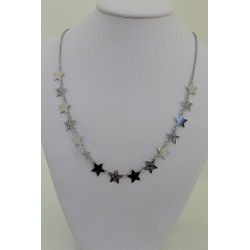Necklace Star sterling silver 925, silver-coloured with stars