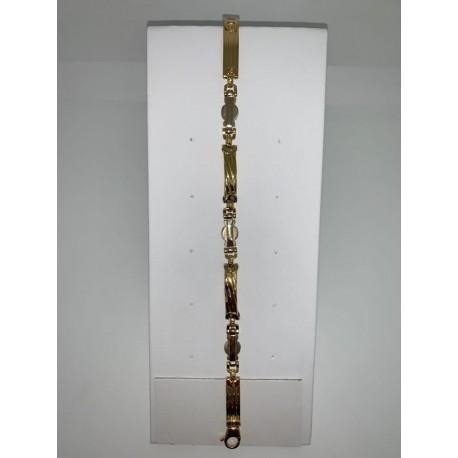 bracciale maschile oro giallo bianco 18 kt maglia piatta