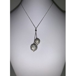 necklace white gold with 2 white balls and stras