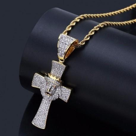 collier croix de tête de lion