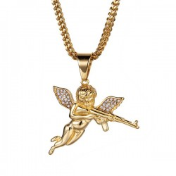 collier ange avec pistolet