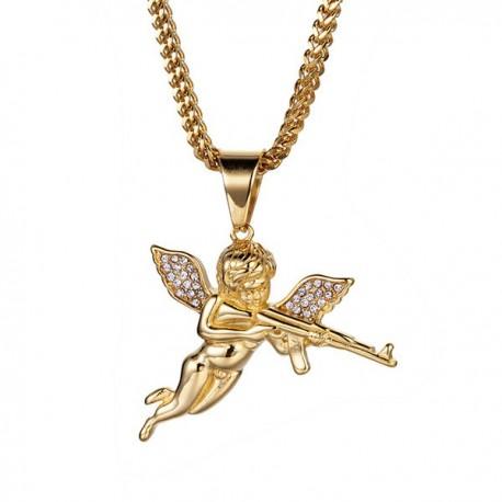 collana angelo con mitraglietta