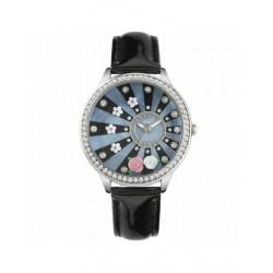 Montre Seul le Temps Femme Didofa' Roses DF-3016A Composer avec des Fleurs-en Cuir Noir