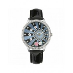 Watch Only Time Woman Didofa' Roses DF-3016A Dial with Flowers-Black Leather