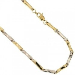 Röhrenkette aus Weiß- und Gelbgold