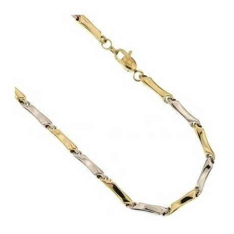 White and yellow gold tube necklace