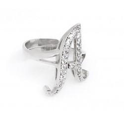 Anello in argento 925 e zirconi bianchi personalizzabile con qualsiasi lettera regolabile