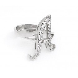 Ring in silver 925 and zircons white customizable with any letter adjustable