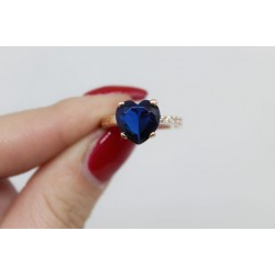 Bague rose avec un coeur en argent 925 pierre bleue
