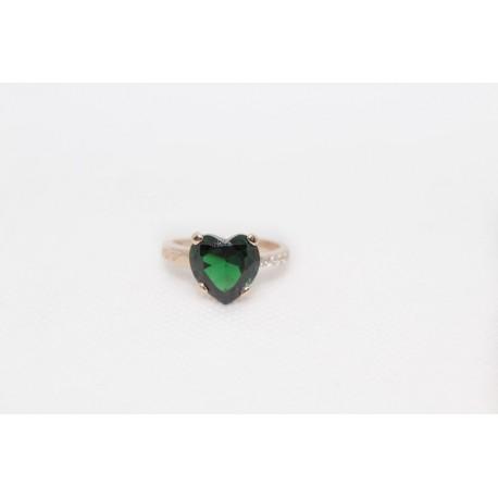 Bague rosato 925 argent avec le coeur vert de la pierre et zircons