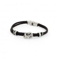 bracelet des hommes bracelet en caoutchouc noir avec la encore et fermoir en acier inoxydable