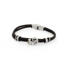 bracelet men's black rubber strap with the again and clasp in stainless steel