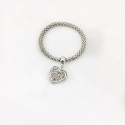Printemps bracelet tressé en acier inoxydable avec pendentif cœur