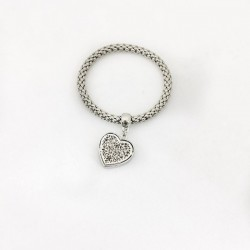 Spring bracelet braided stainless steel with heart pendant