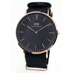 DANIEL WELLINGTON WATCH Black Cornwall Rosè Black fabric DW00100148