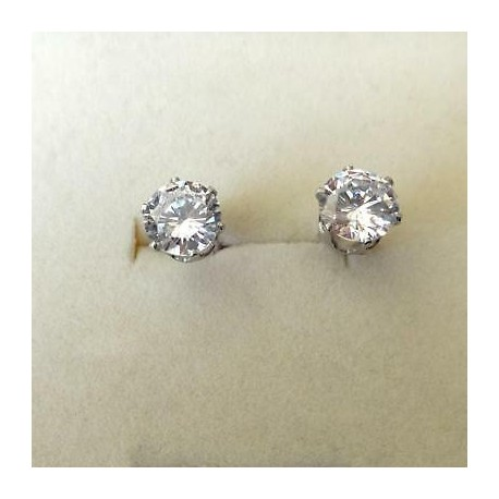 white gold light point earrings and zircons